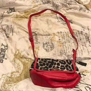 Red leather and leopard print Coach purse